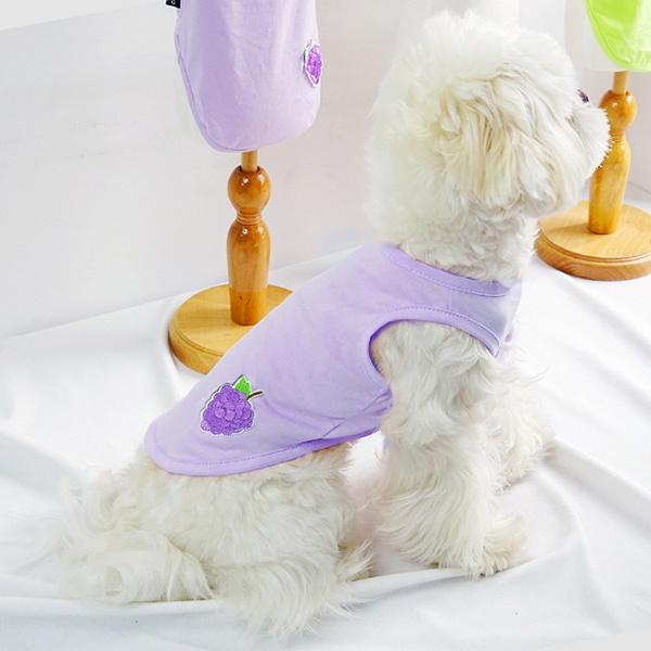 파스텔독 강아지 과일 패치 나시 여름 옷 티셔츠