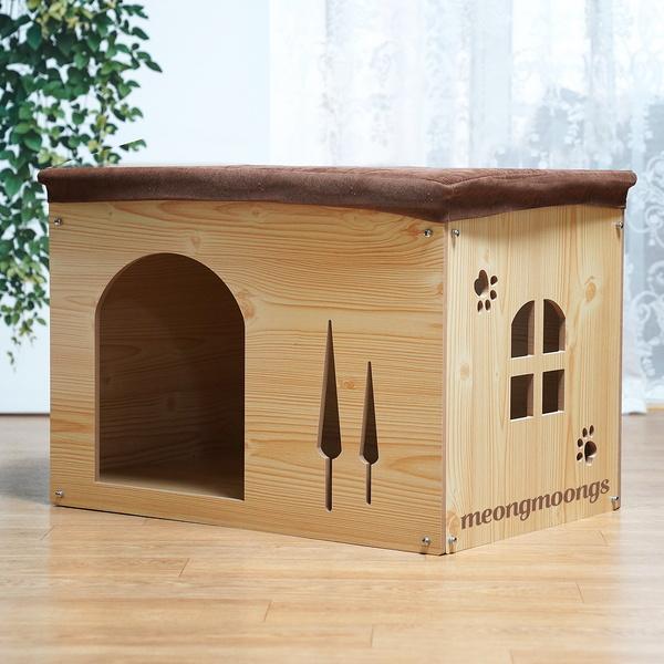 반려동물 강아지 고양이 네모 적재형 원목 하우스