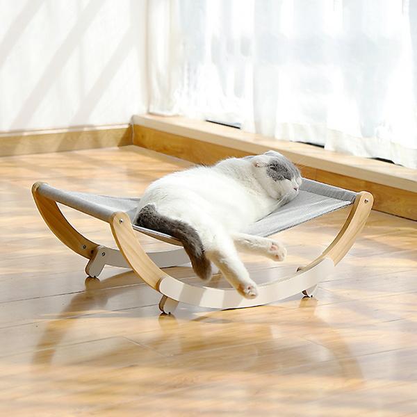 고양이 해먹형 원목 흔들 침대