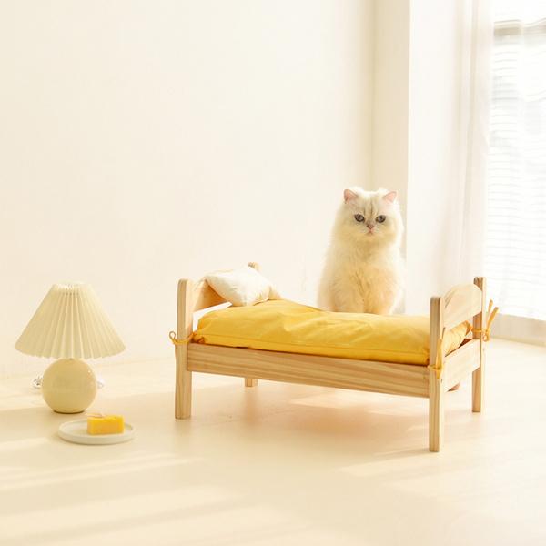 고양이 원목 침대 옐로우 심플 매트형