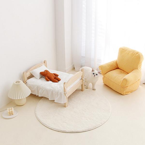 고양이 원목 침대 화이트 레이스