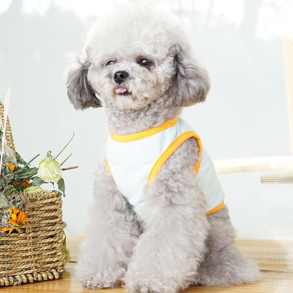 파스텔독 강아지 캐릭터 프린팅 나시 티셔츠