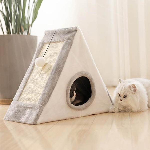레오펫 고양이 삼각 캣타워 숨숨 스크레쳐 하우스