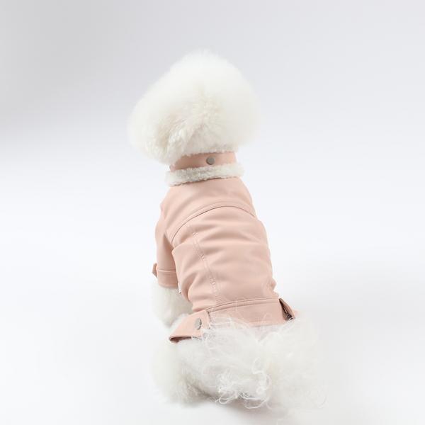 에덴숑 무스탕 라이더 자켓 핑크