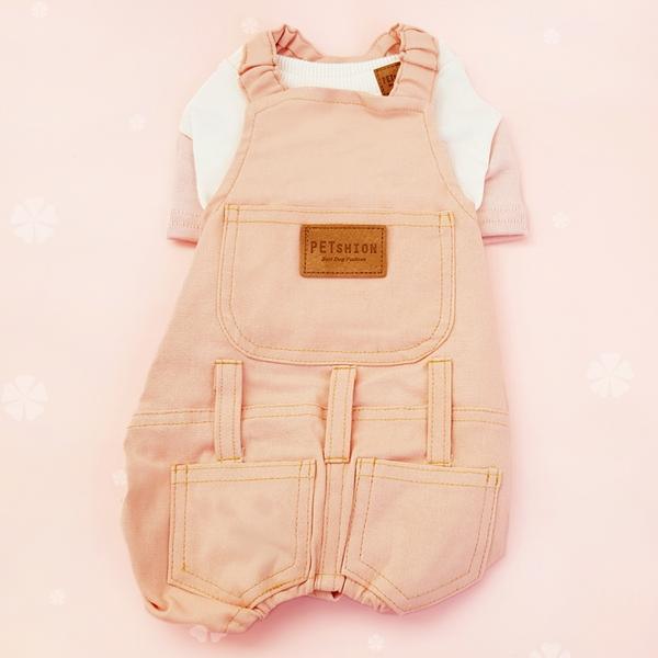 펫션피플 포켓티셔츠 멜빵 분홍 세트