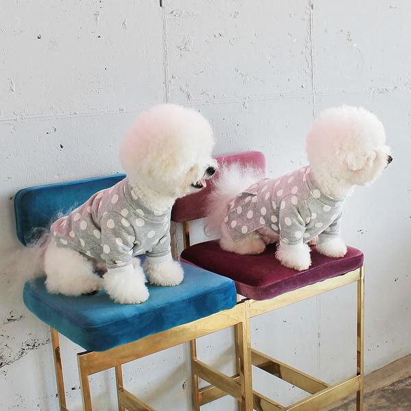 몽페레 강아지 플러피 도트 원피스 클라우디그레이