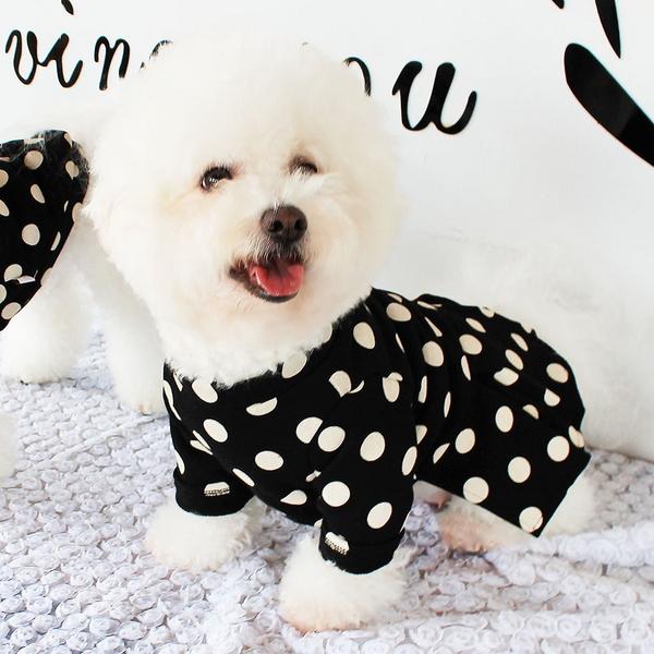 몽페레 강아지 플러피 도트 원피스 스너그블랙