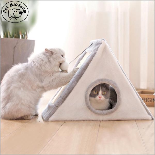 고양이 삼각 스크래쳐 장난감 하우스 숨숨집