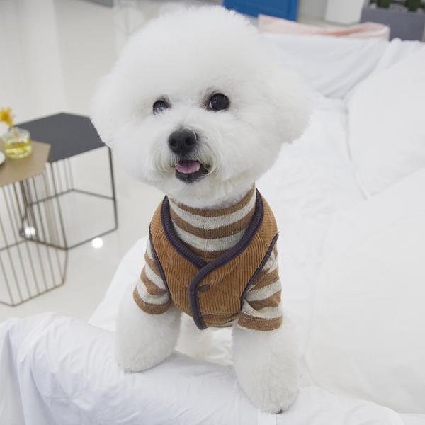 코듀로이 강아지 체크 양면 패딩 조끼 브라운