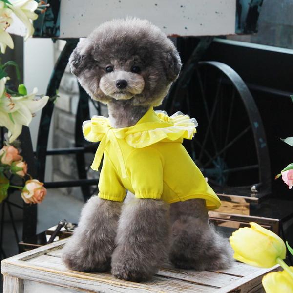 도트 꽃 후드티 옐로우