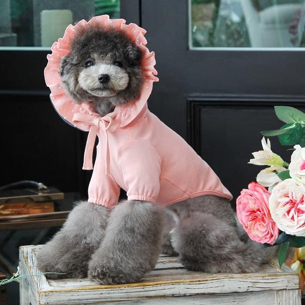 도트 꽃 후드티 핑크