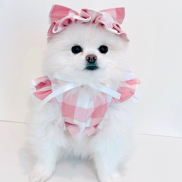 강아지 핀턱 2단 로리타 원피스 - 핑크 강아지 핸드메이드 원피스