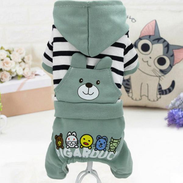 [멍냥왕국] 곰돌이 스트라이프 올인원 - 민트 / 강아지 가을올인원 / 멍멍이가을옷