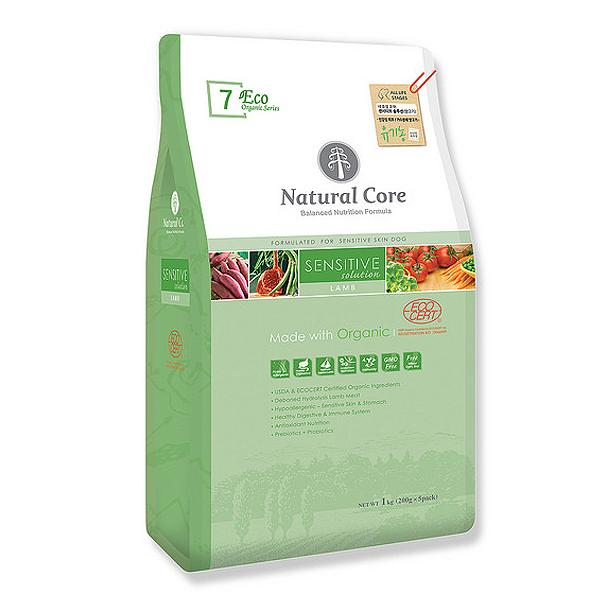 네츄럴코어 유기농 애견사료 에코7 센시티브 솔루션 양고기 1kg