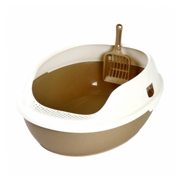 마칼 고양이 평판형 거름망 화장실 브라운
