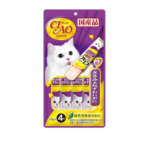 이나바 고양이 챠오스틱 닭가슴살 게살 15g 4개입