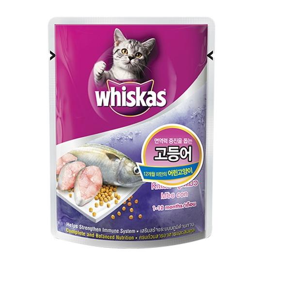 위스카스 고양이 간식 파우치 주니어 고등어 85g