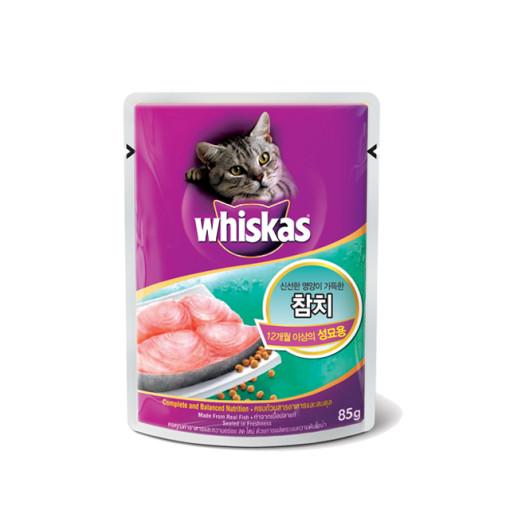 위스카스 고양이 간식 파우치 성묘용 참치 85g