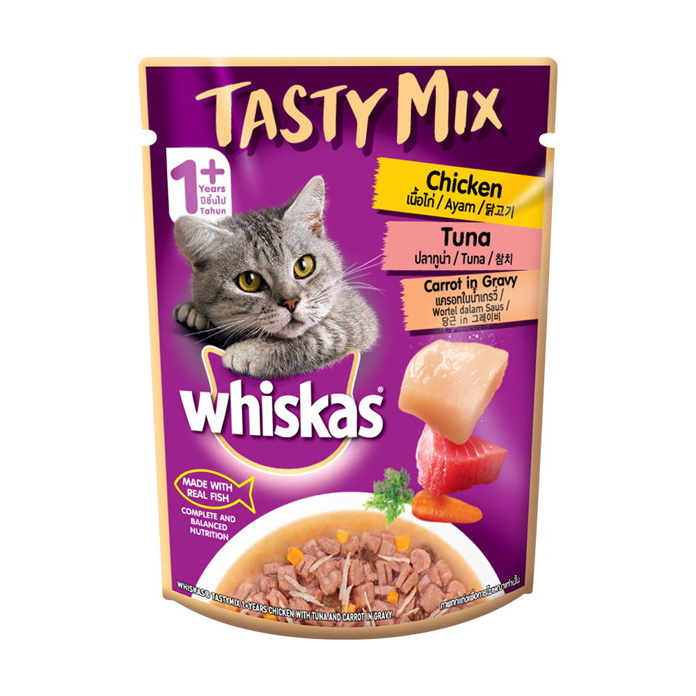 위스카스 고양이 간식 파우치 테이스티믹스 닭고기 연어와 미역 70g